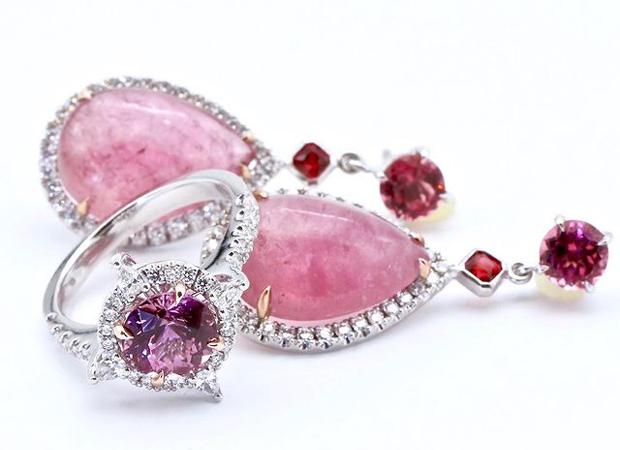 Bespoke pink tourmaline, spinel & diamond set