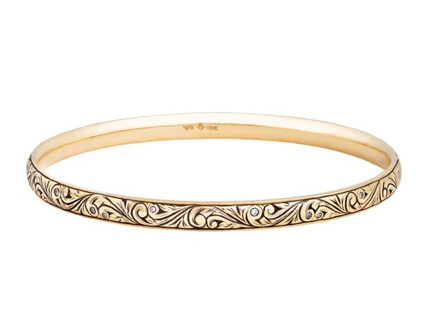 Floral scroll bangle with diamonds