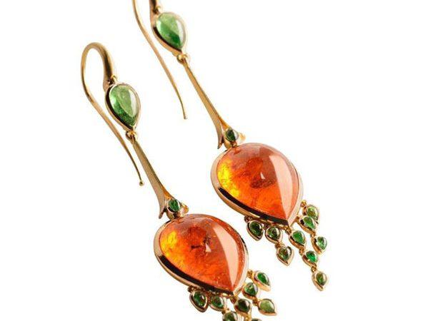 Mandarin & tsavorite garnet earrings