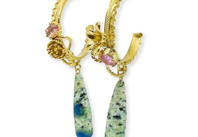 Botanical jewel hoop earrings