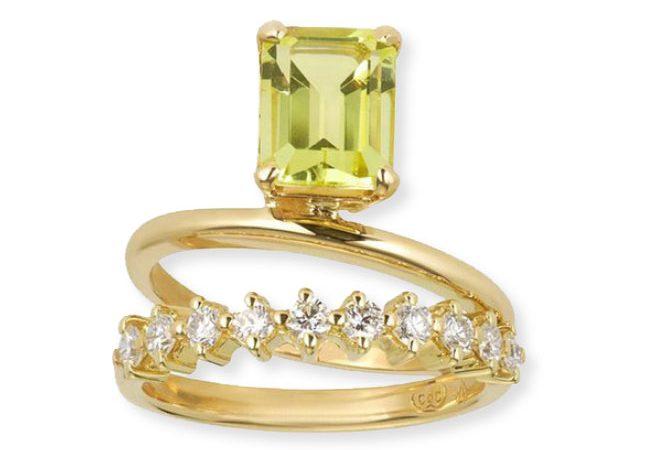 'Double Band Buttercup Lemon Quartz' ring